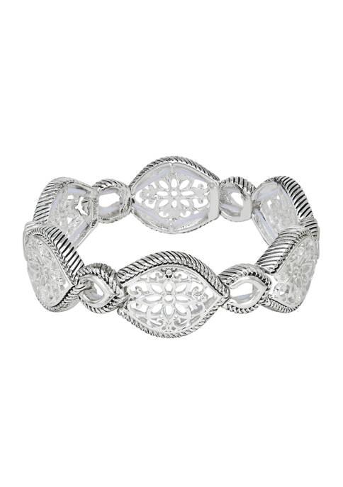 Napier Silver Tone Open Work Stretch Bracelet