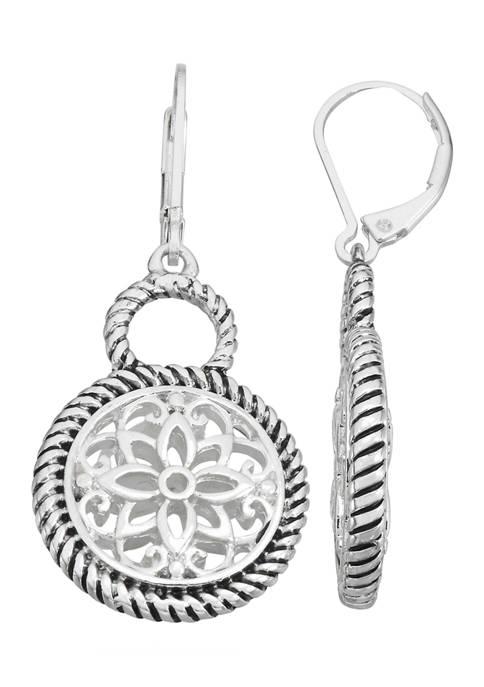 Napier Silver Tone Pattern Double Drop Earrings
