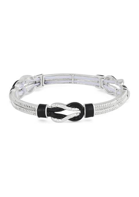Napier Silver Tone Knot Stretch Bracelet