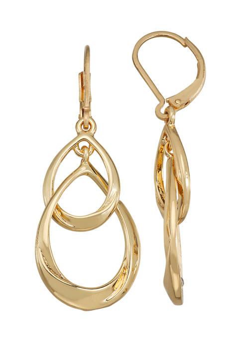 Gold Tone Double Drop Earrings