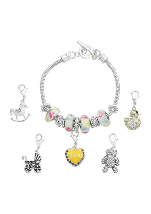 Napier Silver Tone Boxed Baby Theme Bracelet