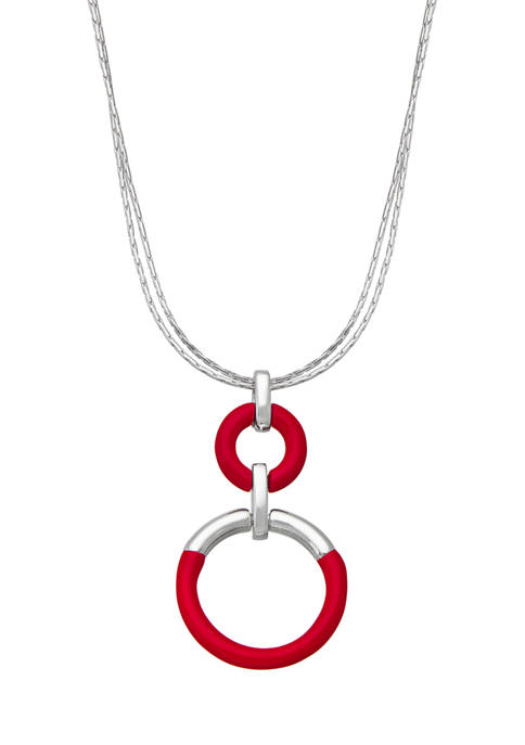 Napier Silver Tone 16 Inch Pendant Necklace
