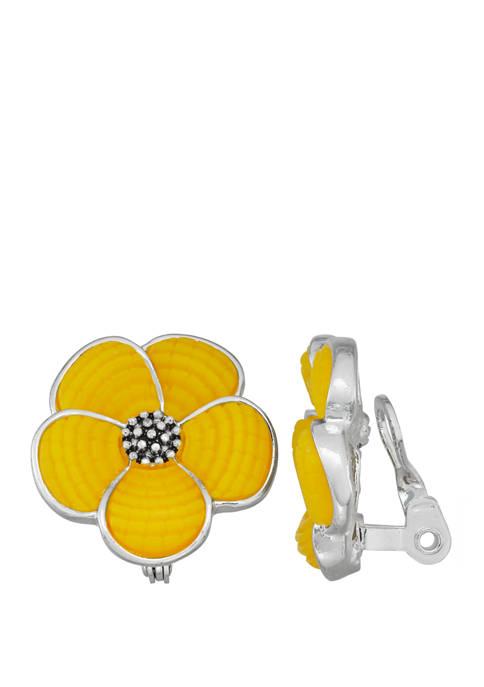 Silver Tone Yellow EZ Comfort Clip Flower Button Earrings