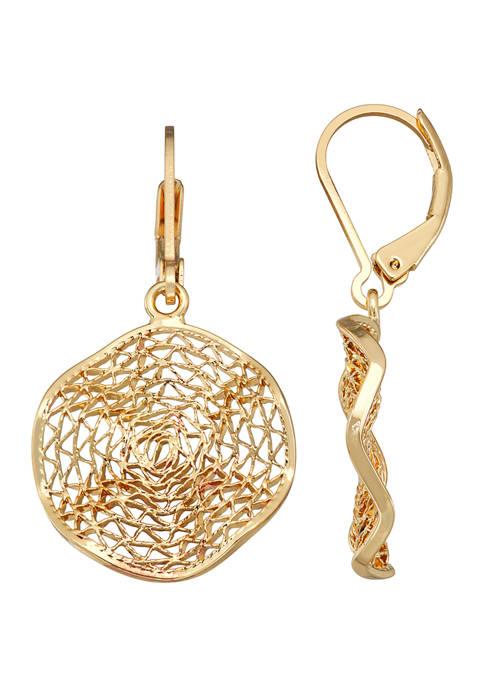 Napier Gold Tone Coin Drop Earrings