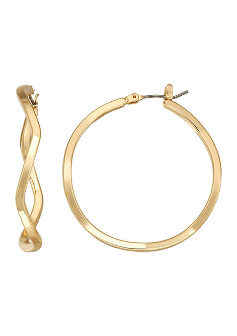 Napier Gold Tone 40 Millimeter Hoop Earrings