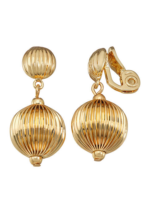 Napier Gold Tone Bead Drop Comfort Clip Earrings