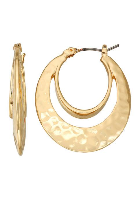 Gold Tone 28 Millimeter Double Hoop Earrings