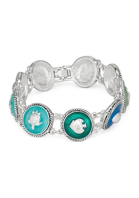 Napier Silver Tone Sea Life Boxed Bracelet