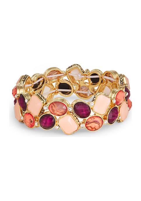 Napier Gold Tone Berry Cluster Stretch Bracelet