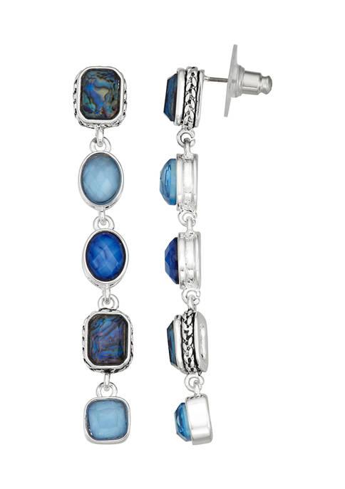 Silver Tone Blue Multi Stone Linear Post Earrings