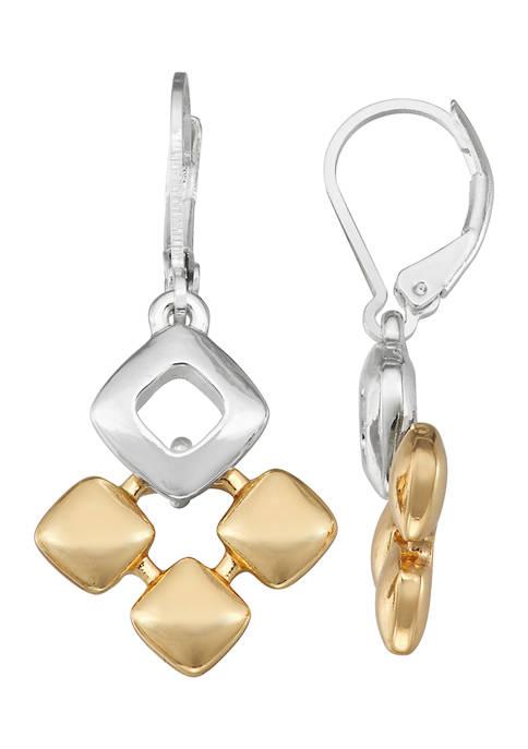 Napier Two Tone Drop Earrings