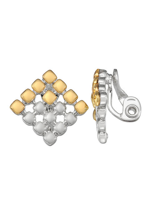 Two Tone Comfort Clip Button Earrings