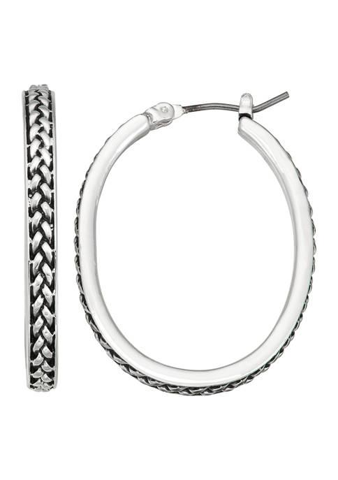 Silver Tone Oval Texture Hoop Earrings