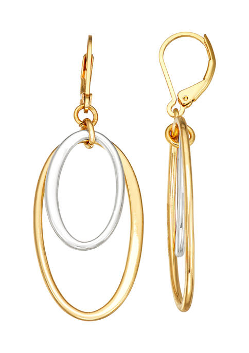 Napier Two Tone Oval Drop Earrings