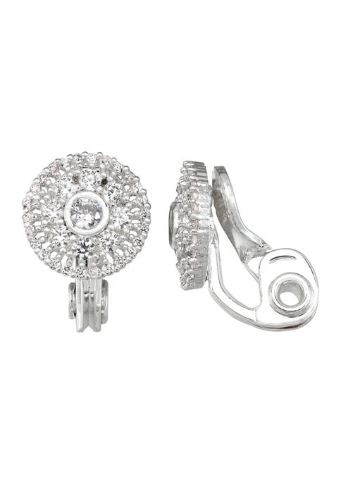 Silver Tone Cubic Zirconia Halo Button Clip-On Earrings
