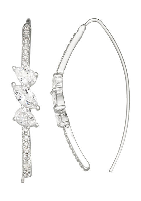 Silver Tone Cubic Zirconia Threader Earrings