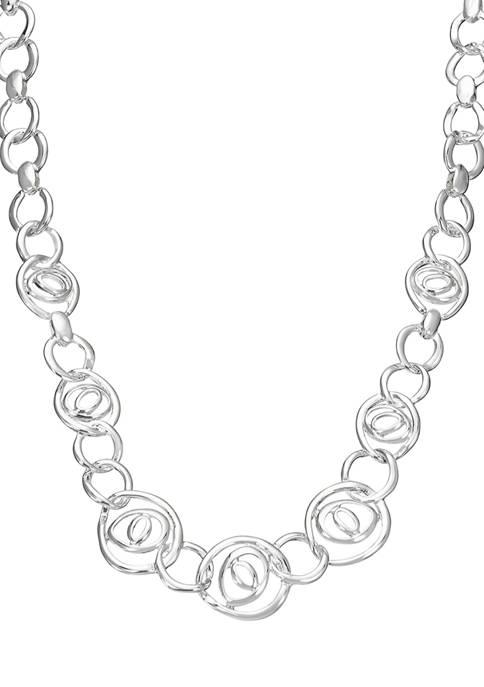 Napier 16 Inch Silver Tone Ring Collar Necklace