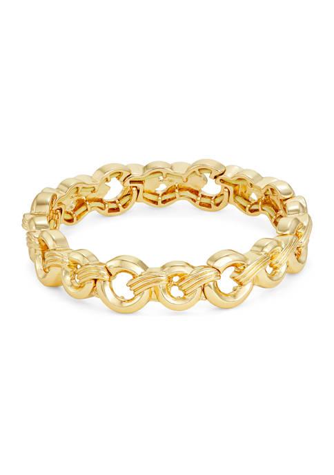 Gold Tone Link Stretch Bracelet