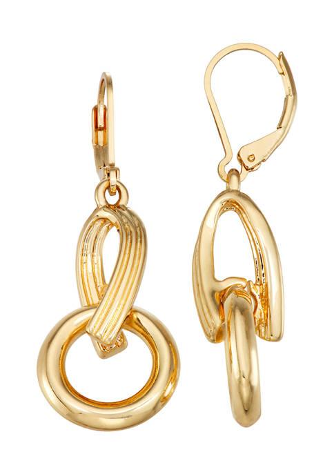 Napier Gold Tone Link Lever Back Drop Earrings