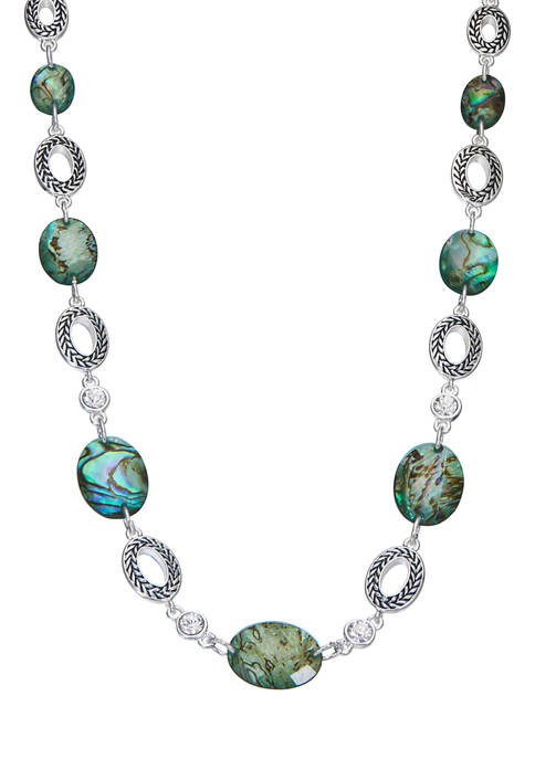 16 Inch Silver Tone Blue and Green Collar Necklace