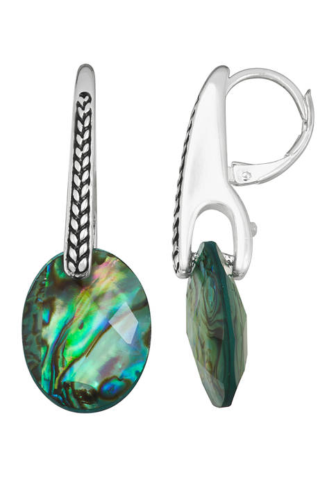 Napier Silver Tone Blue Green Drop Earrings
