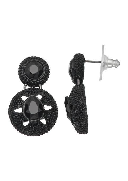 Napier Hematite Tone Double Drop Post Jet Earrings