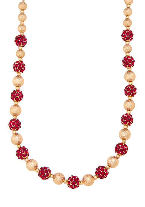 Gold Tone 16 Inch Fireball Collar Necklace