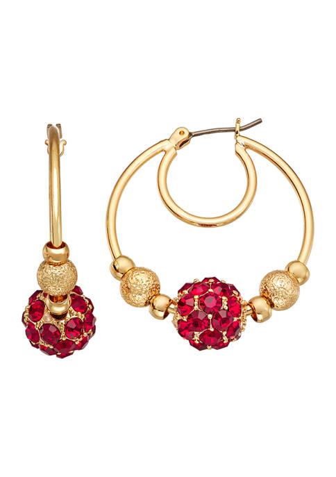 Gold Tone Fireball Hoop Red Earrings