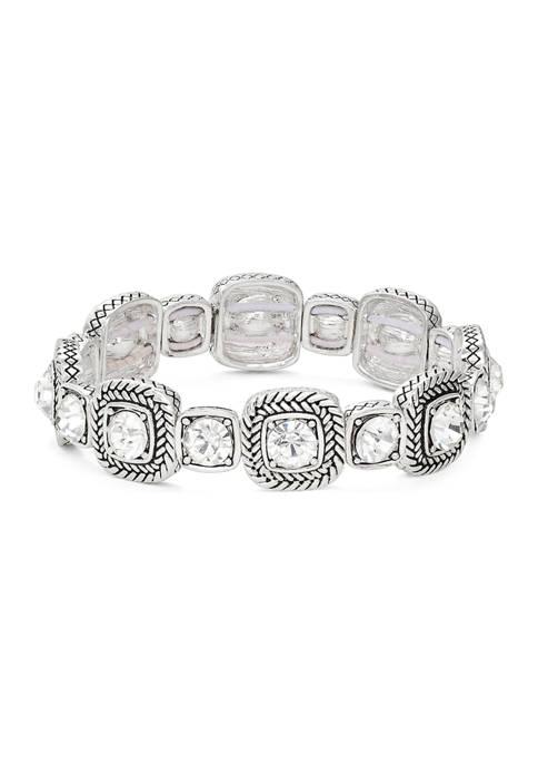 Napier Silver Tone Stone Stretch Crystal Bracelet