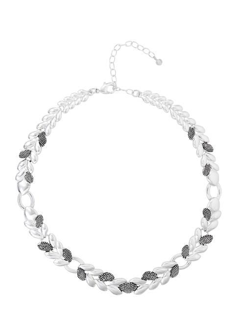 Napier Silver Tone Casual Caviar Collar Necklace