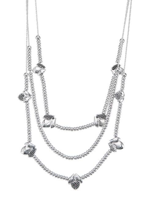 Napier Silver Tone Casual Multi-Row Illusion Necklace