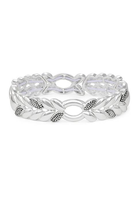 Napier Silver Tone Casual Caviar Stretch Bracelet