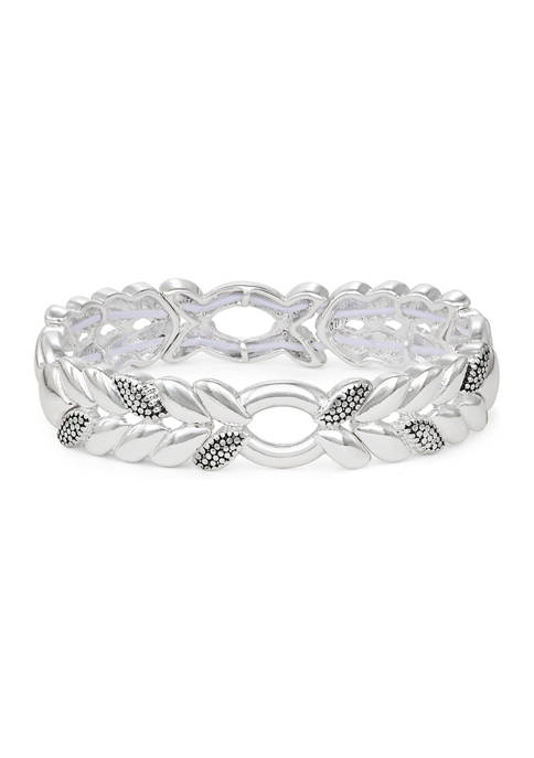 Silver Tone Casual Caviar Stretch Bracelet