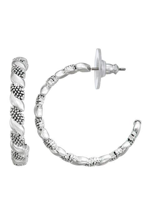 Silver Tone Casual C Hoop Earrings