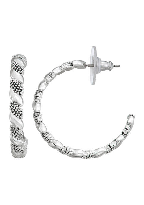 Napier Silver Tone Casual C Hoop Earrings