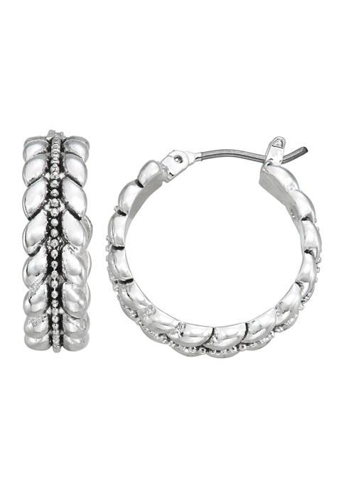 Napier Silver Tone Casual Hoop Earrings