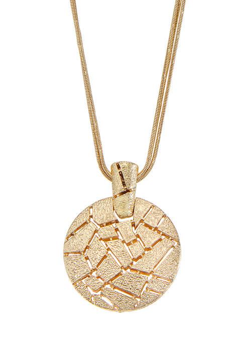 Gold Tone Doorknocker Pendant Necklace