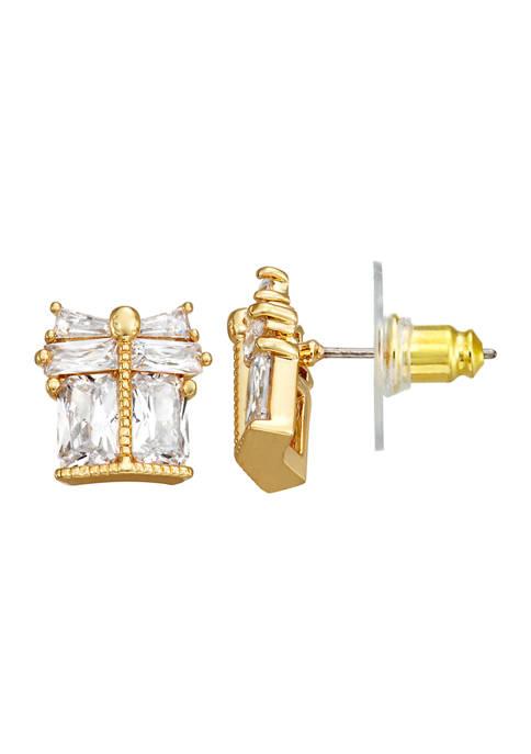 Napier Gold Tone Cubic Zirconia Present Stud Earrings