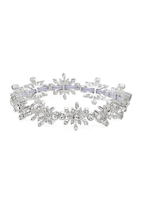 Napier Silver Tone Crystal Snowflake Stretch Bracelet