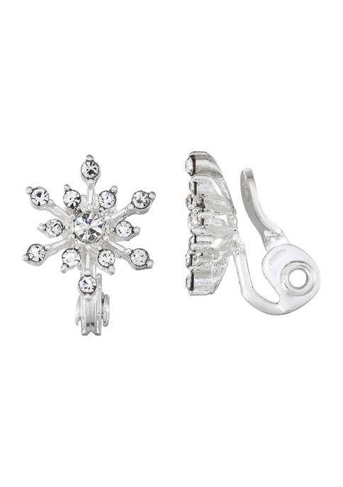 Napier Silver Tone Crystal Snowflake Button EZ Comfort