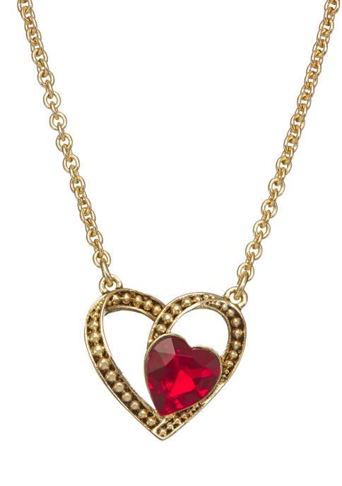 Napier Gold Tone Red Heart Pendant Necklace