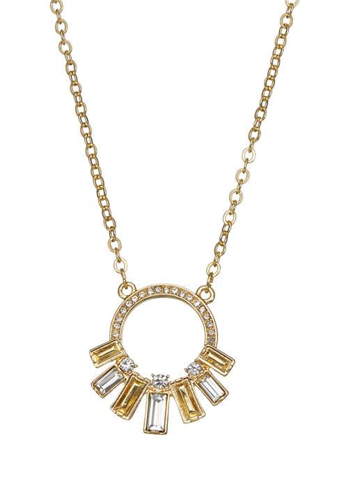 Napier Gold Tone Crystal Orbital Pendant Necklace
