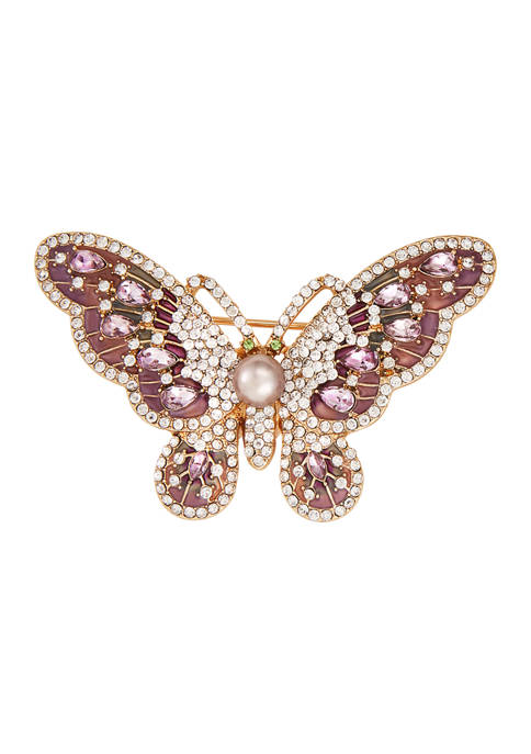 Napier Gold Tone Boxed Butterfly Pin