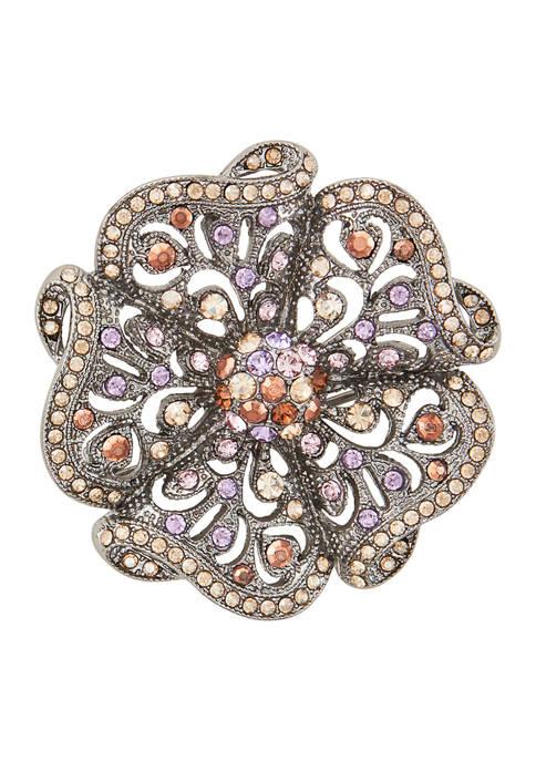 Napier Boxed Hematite Tone Flower Pin