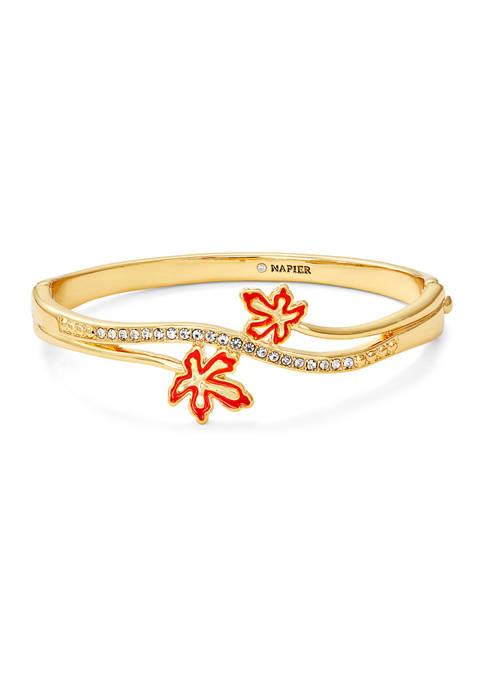 Napier Boxed Gold Tone Leaf Bangle Bracelet