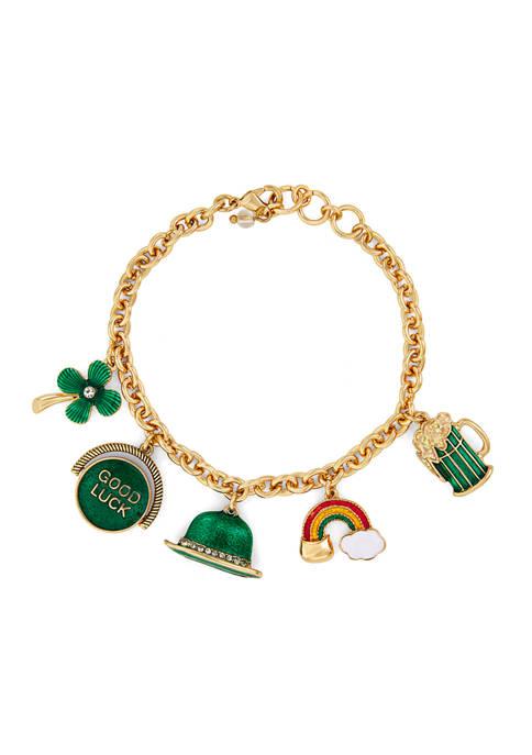 Napier Gold Tone Boxed St. Paddys Charm Bracelet
