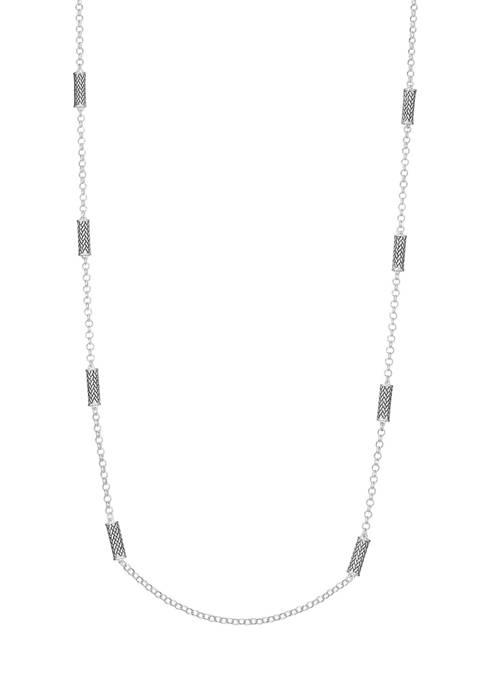 Napier Silver Tone Casual Long Herringbone Strandage Necklace