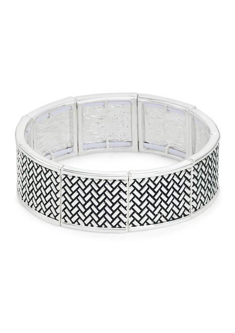 Napier Silver Tone Casual Herringbone Solid Stretch Bracelet