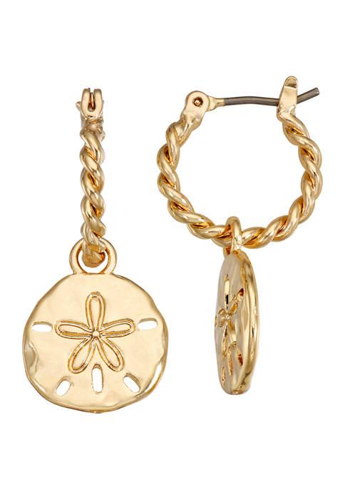 Napier Gold Tone Sand Dollar Hoop Drop Earrings