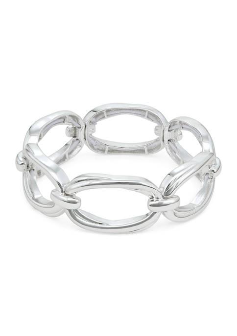 Napier Silver Tone 2.25 Inch Binds Stretch Bracelet